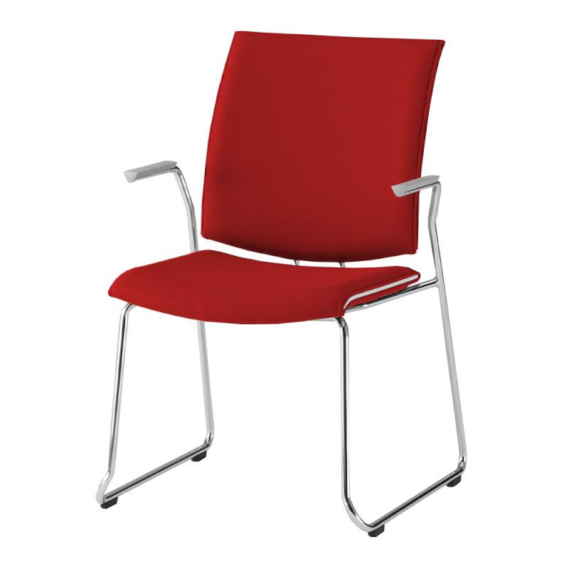 ミーティングチェア 応接用椅子 ループ脚 スチール メッキ脚 肘付き レザー | I-TRF11R-LYL