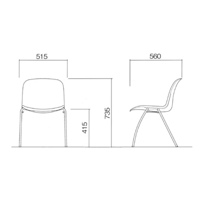 ミーティングチェア スタッキングチェア 学校教育用椅子 4本脚 スチール メッキ脚 シェルブラック 上級布 | I-DJA207-PXN