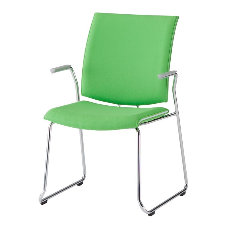ミーティングチェア 応接用椅子 ループ脚 スチール メッキ脚 肘付き 布 | I-TRF11R-F
