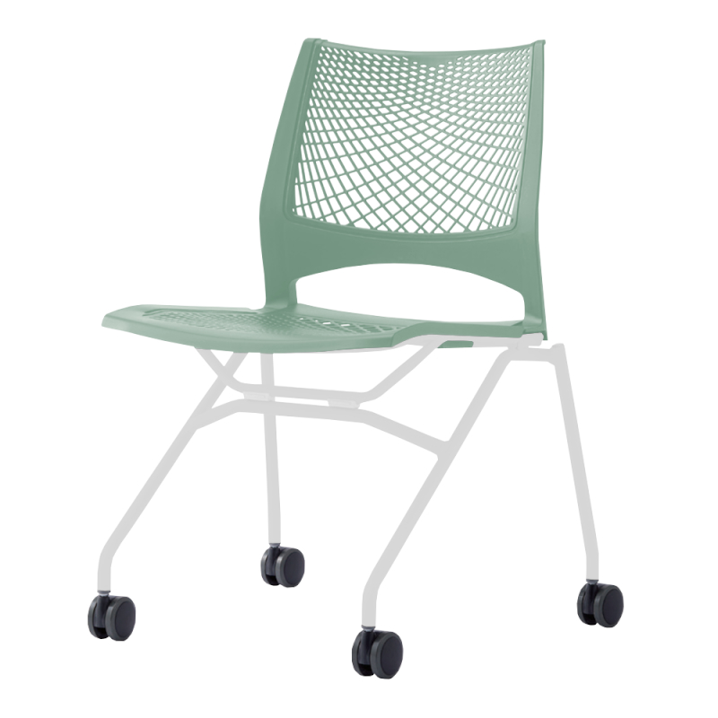 ミーティングチェア ネスティングチェア 会議用椅子 キャスター脚 スチール ホワイト 塗装脚 キャスター付き メッシュ | I-VSTN-W