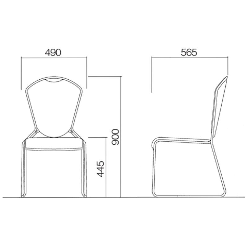 ミーティングチェア スタッキングチェア レセプション用椅子 ループ脚 ステンレス メッキ脚 上級レザー   I-CL950-MBL