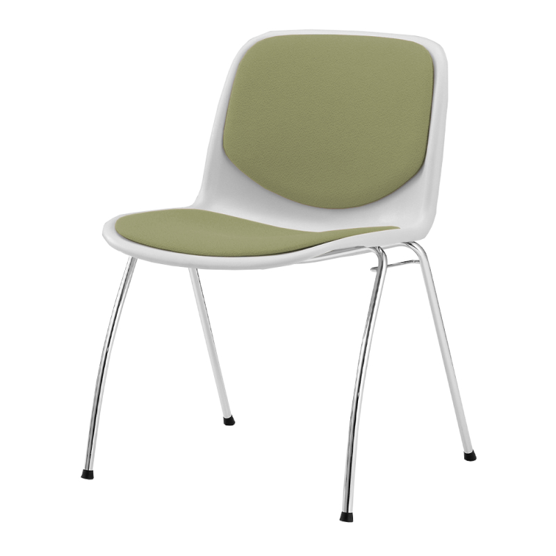ミーティングチェア スタッキングチェア 学校教育用椅子 4本脚 スチール メッキ脚 シェルブルー レザー | I-DJA208-LYL