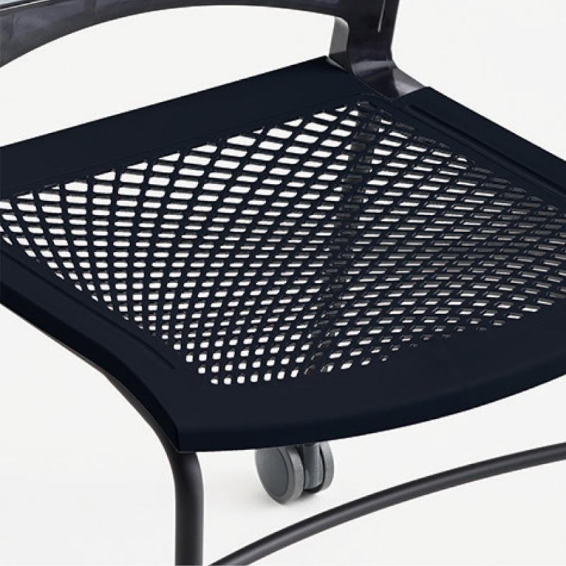 ミーティングチェア ネスティングチェア 会議用椅子 キャスター脚 スチール シルバー 塗装脚 キャスター付き 肘付き メッシュ | I-VSTNA-S