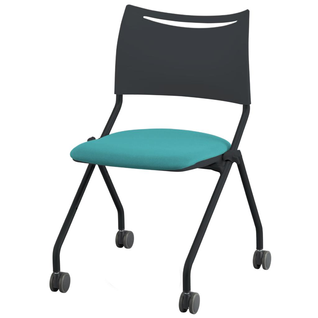 ミーティングチェア ネスティングチェア 会議用椅子 ブラック   I-LTS-4N-B-F