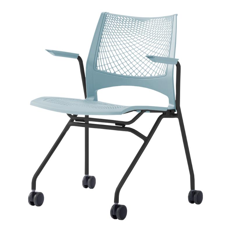 ミーティングチェア ネスティングチェア 会議用椅子 キャスター脚 スチール ブラック 塗装脚 キャスター付き 肘付き メッシュ | I-VSTNA-B