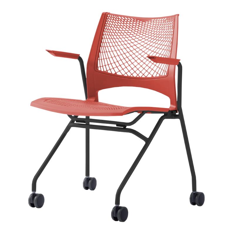ミーティングチェア ネスティングチェア 会議用椅子 キャスター脚 スチール ブラック 塗装脚 キャスター付き 肘付き メッシュ   I-VSTNA-B