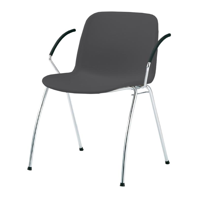 ミーティングチェア スタッキングチェア 学校教育用椅子 4本脚 スチール メッキ脚 肘付き シェルブラック 樹脂 | I-DJA21B