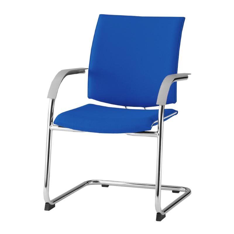 ミーティングチェア 応接用椅子 カンチレバー脚 スチール メッキ脚 肘付き レザー | I-TRF21K-LYL