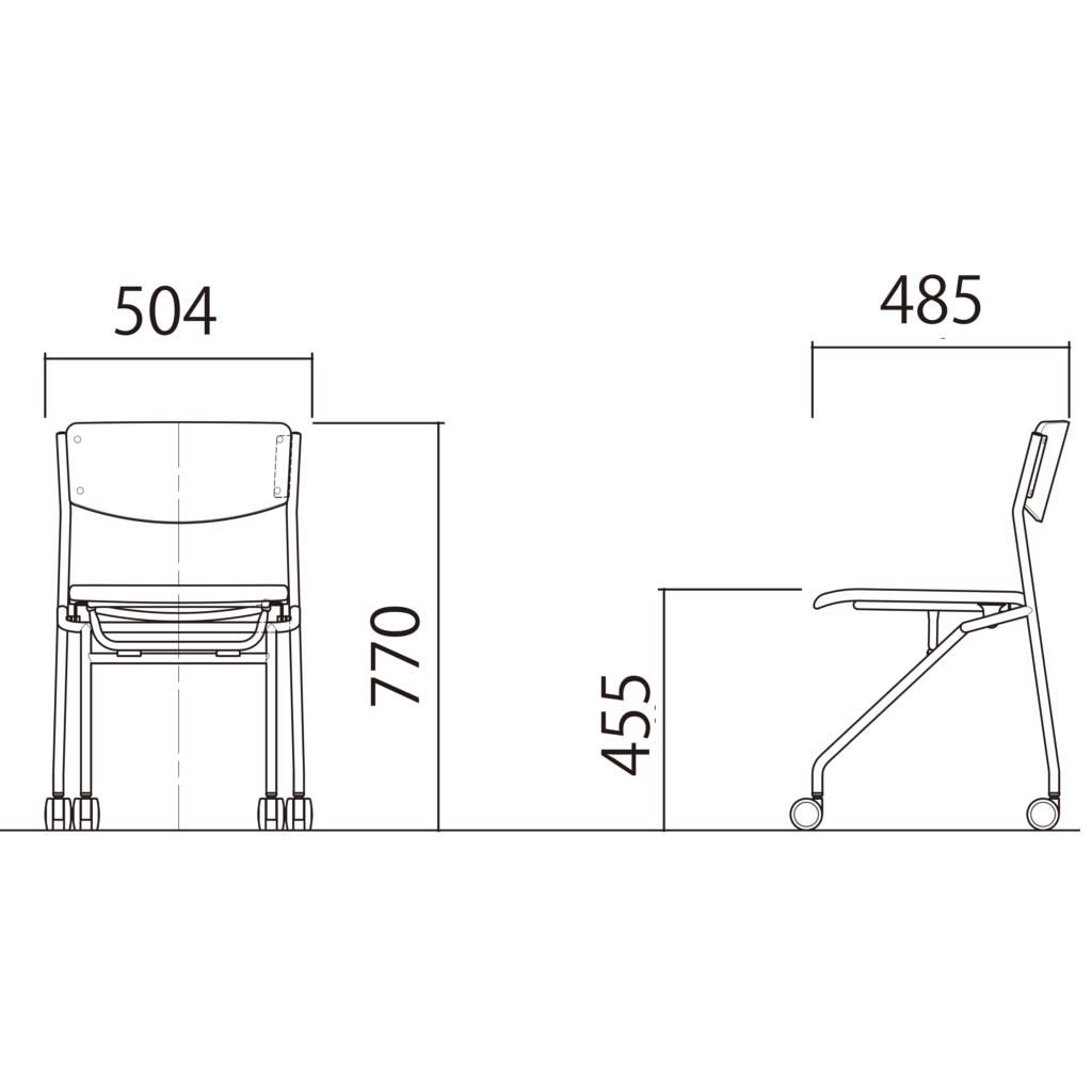 ミーティングチェア ネスティングチェア 会議用椅子 ブラック | I-ESC-N-B