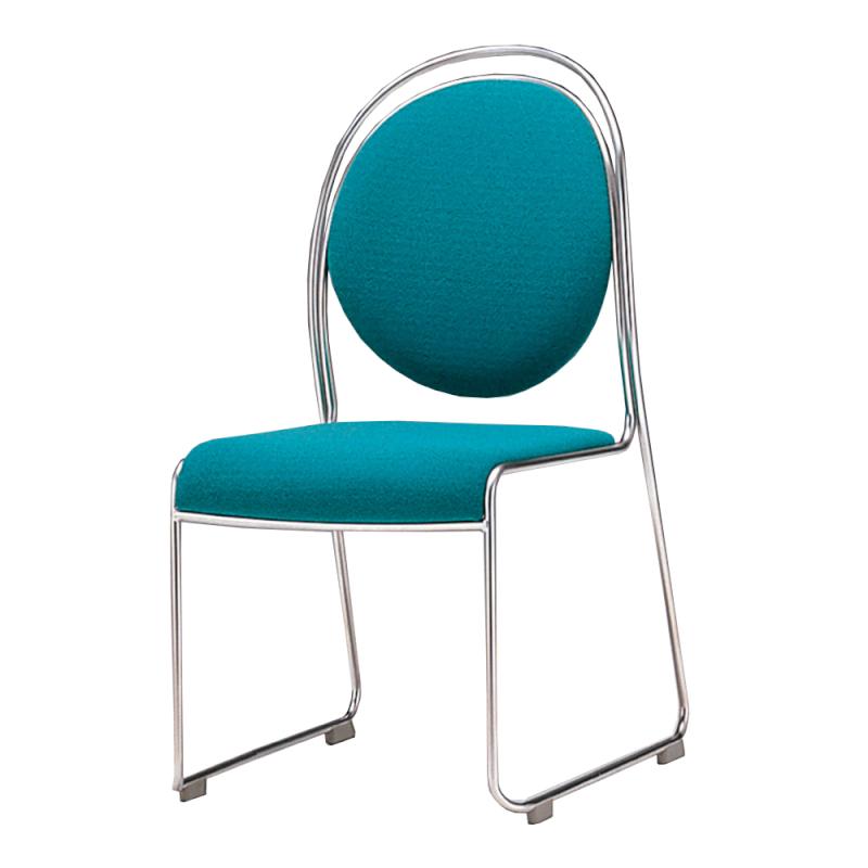ミーティングチェア スタッキングチェア レセプション用椅子 ループ脚 ステンレス メッキ脚 上級レザー | I-DMA10-MBL