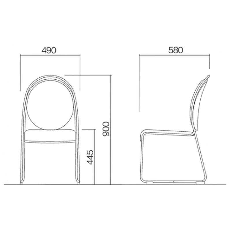 ミーティングチェア スタッキングチェア レセプション用椅子 ループ脚 ステンレス メッキ脚 上級レザー   I-DMA10-MBL