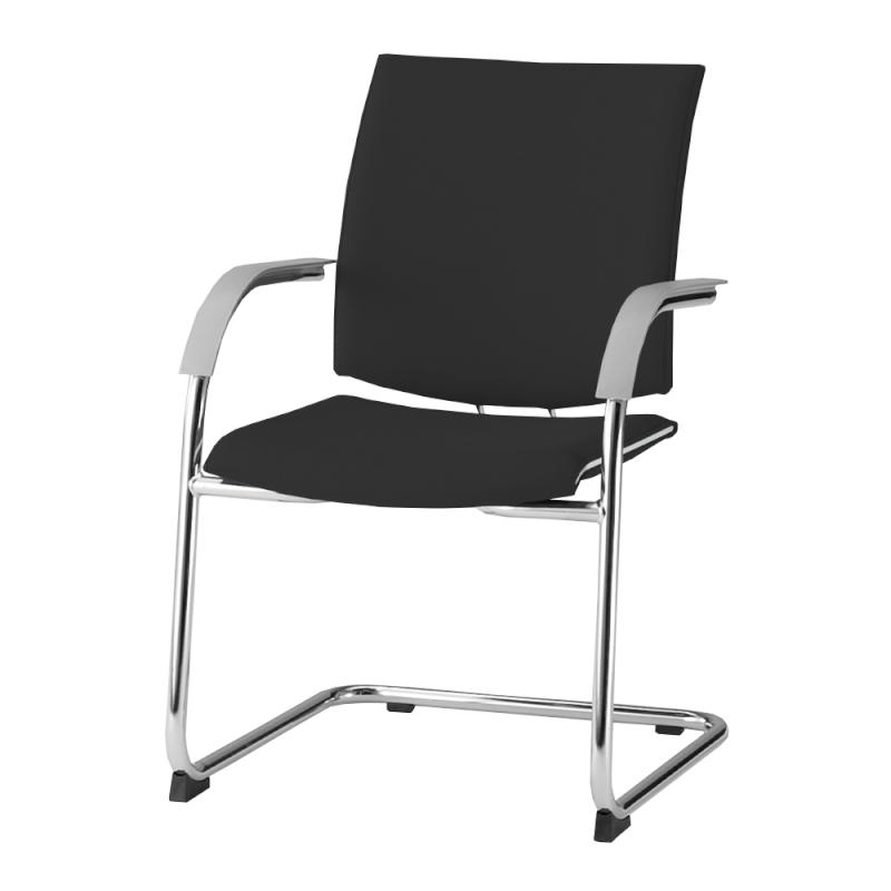 ミーティングチェア 応接用椅子 カンチレバー脚 スチール メッキ脚 肘付き 布 | I-TRF21K-F