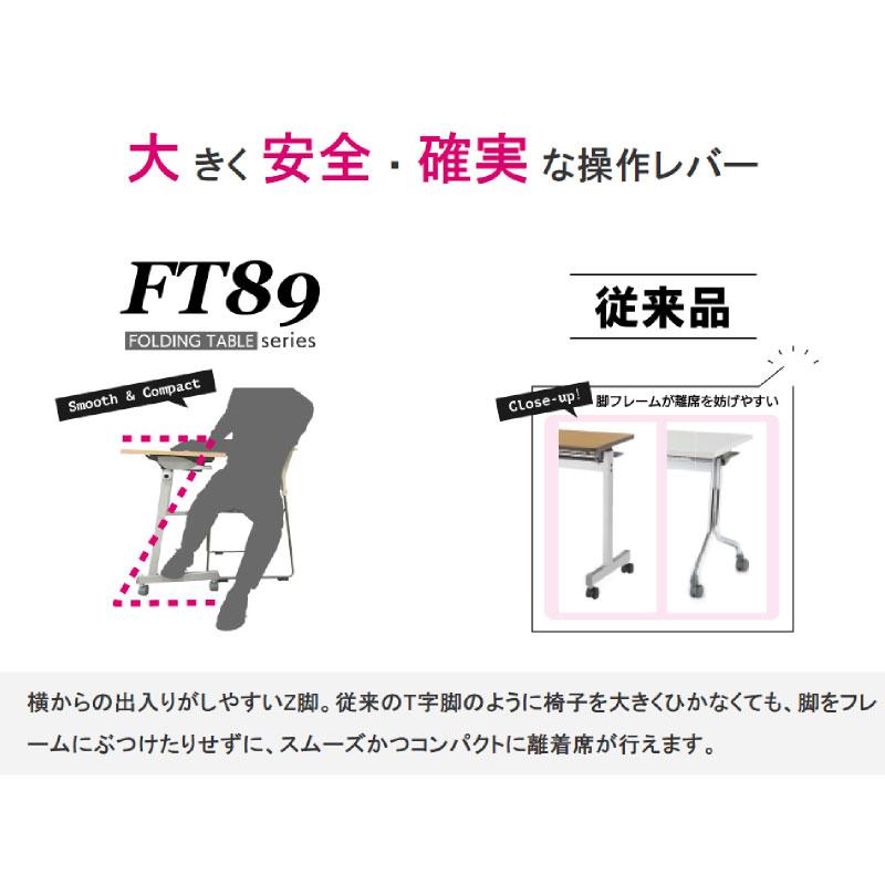 会議用テーブル キャスター付き W1200 D450 H720 幕板なし Z脚タイプ   I-FT89-Z1245T