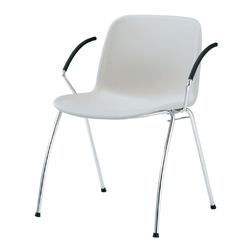 ミーティングチェア スタッキングチェア 学校教育用椅子 4本脚 スチール メッキ脚 肘付き シェルライトグレー 樹脂   I-DJA21L