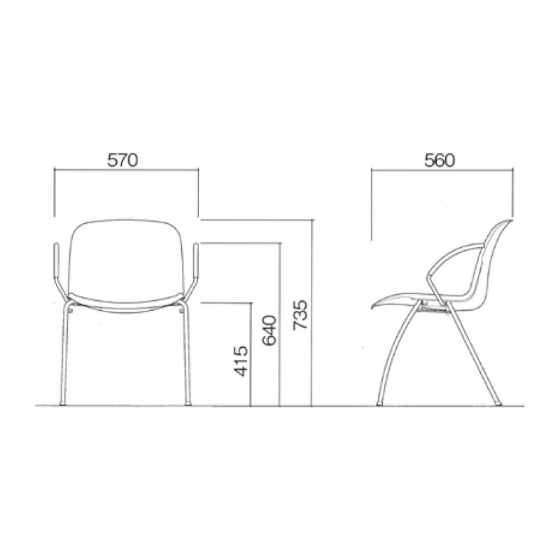 ミーティングチェア スタッキングチェア 学校教育用椅子 4本脚 スチール メッキ脚 肘付き シェルブラック レザー | I-DJA211-LYL