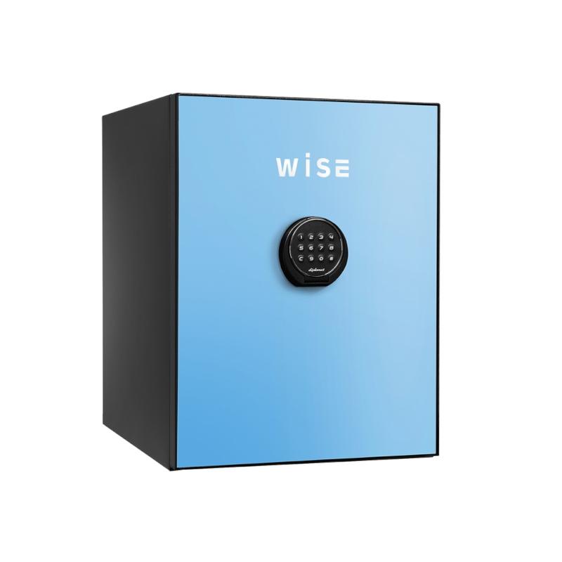 ディプロマット デジタルテンキー式 デザイン金庫 60分耐火 容量36L ライトブルー 警報音付 | I-WS500ALB