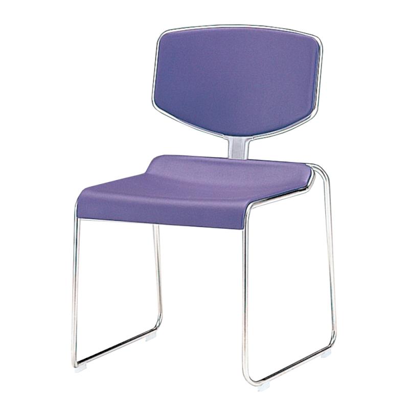 ミーティングチェア スタッキングチェア レセプション用椅子 ループ脚 ステンレス メッキ脚  布 | I-DD112-SJN