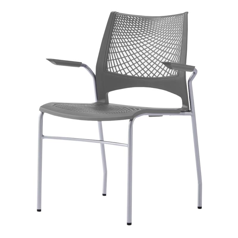 ミーティングチェア スタッキングチェア 会議用椅子 4本脚 スチール シルバー 塗装脚 肘付き メッシュ | I-VST-4A-S