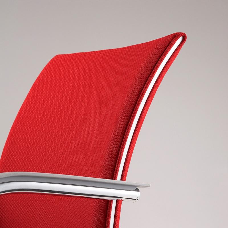 ミーティングチェア 応接用椅子 回転脚 スチール メッキ脚 キャスター付き 肘付き 布 | I-TRF51C-F