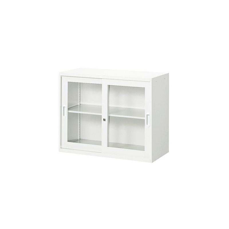 書庫 キャビネット ガラス引き戸型 2段 | I-UAJ-CW7