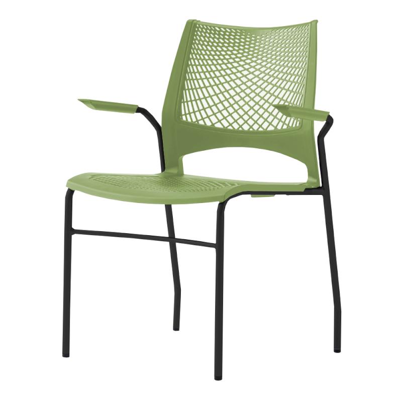 ミーティングチェア スタッキングチェア 会議用椅子 4本脚 スチール ブラック 塗装脚 肘付き メッシュ   I-VST-4A-B