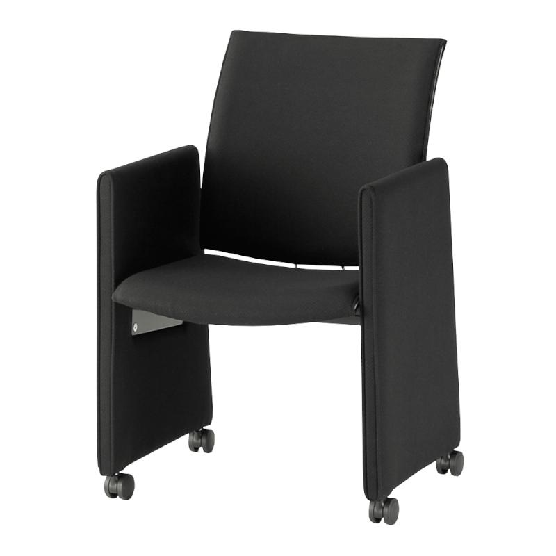 ミーティングチェア 応接用椅子 パネル脚 スチール メッキ脚 肘付き レザー | I-TRF61P-LYL