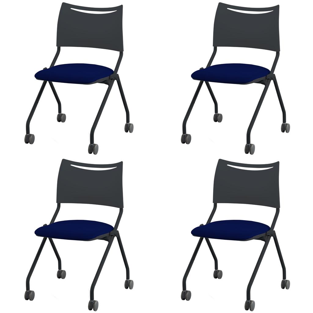 ミーティングチェア ネスティングチェア 会議用椅子 ブラック | 【4脚セット】 I-LTS-4N-B-F