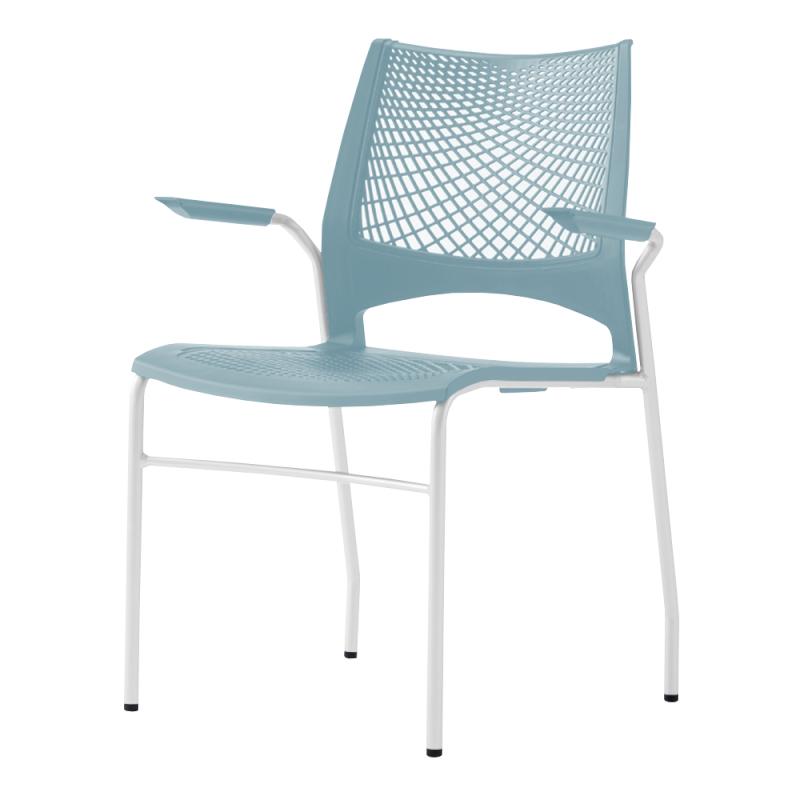 ミーティングチェア スタッキングチェア 会議用椅子 4本脚 スチール ホワイト 塗装脚 肘付き メッシュ | I-VST-4A-W