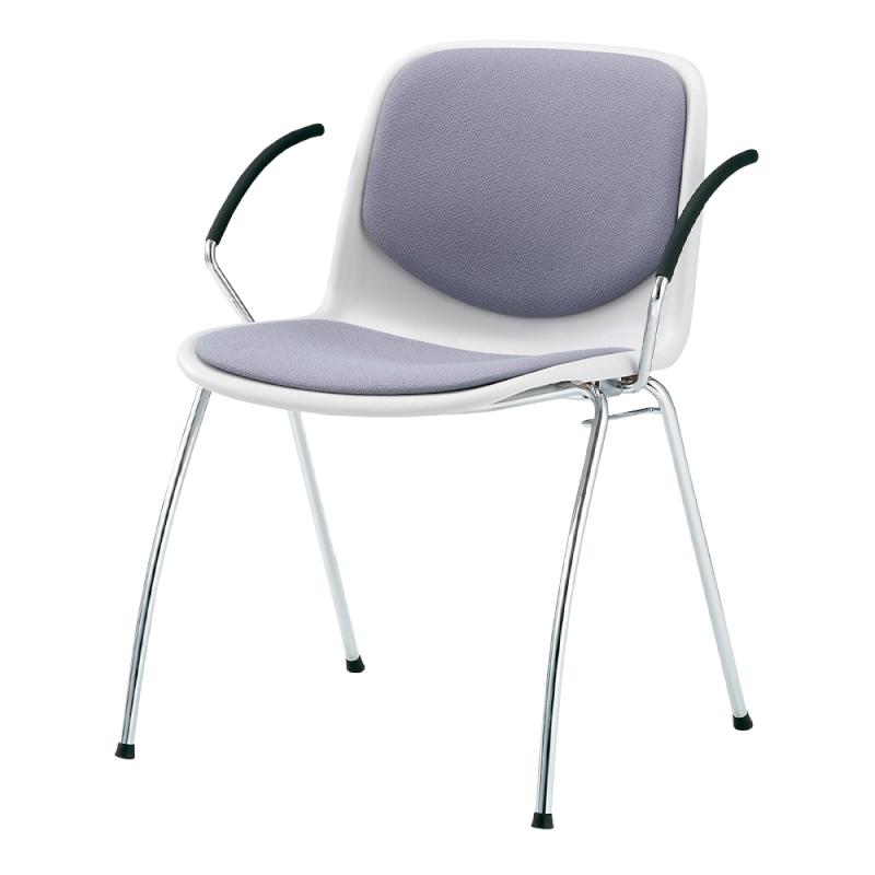 ミーティングチェア スタッキングチェア 学校教育用椅子 4本脚 スチール メッキ脚 肘付き シェルブルー レザー   I-DJA218-LYL