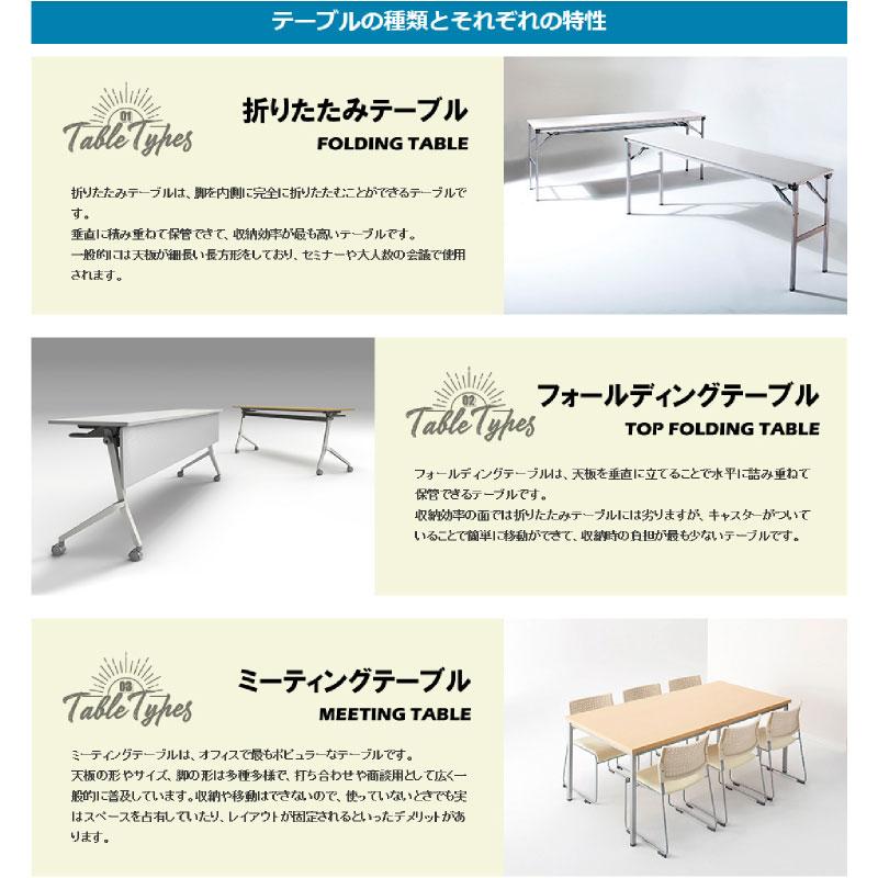 会議用テーブル キャスター付き W1200 D450 H720 幕板付き Z脚タイプ | I-FT89-Z1245TM