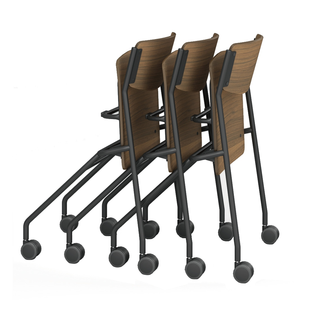 ミーティングチェア ネスティングチェア 会議用椅子 ブラック | 【4脚セット】 I-ESC-N-B