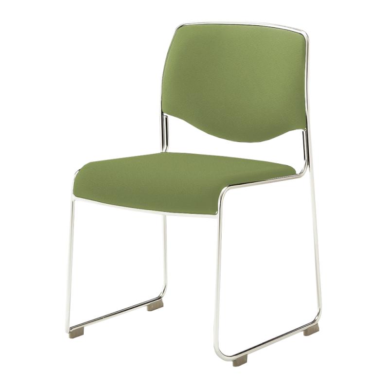 ミーティングチェア スタッキングチェア 会議用椅子 ループ脚 ステンレス メッキ脚 レザー | I-DMC10-LYL