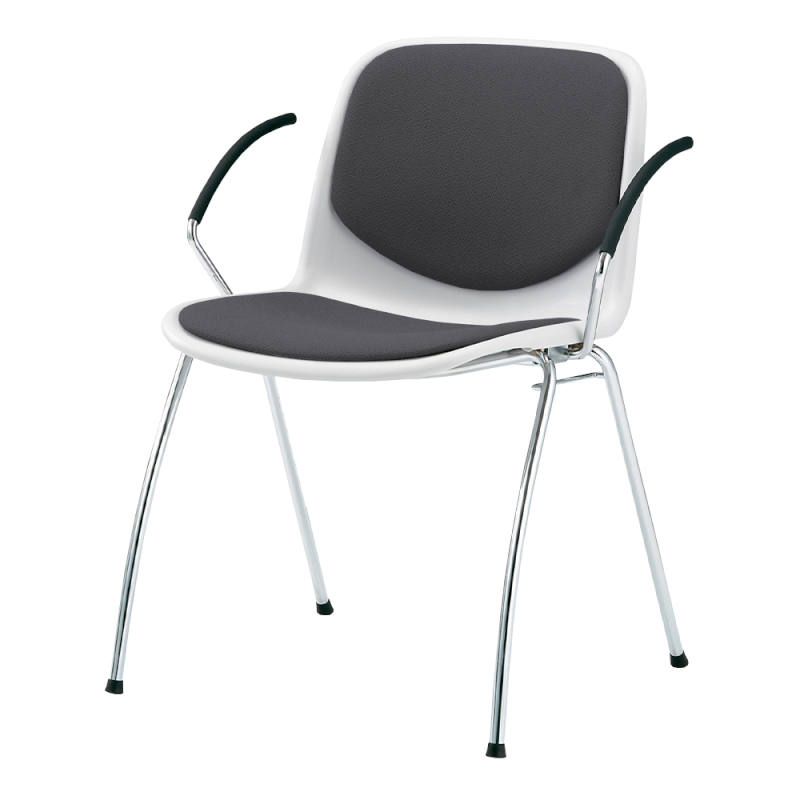ミーティングチェア スタッキングチェア 学校教育用椅子 4本脚 スチール メッキ脚 肘付き シェルライトグレー 上級布 | I-DJA218-PXN