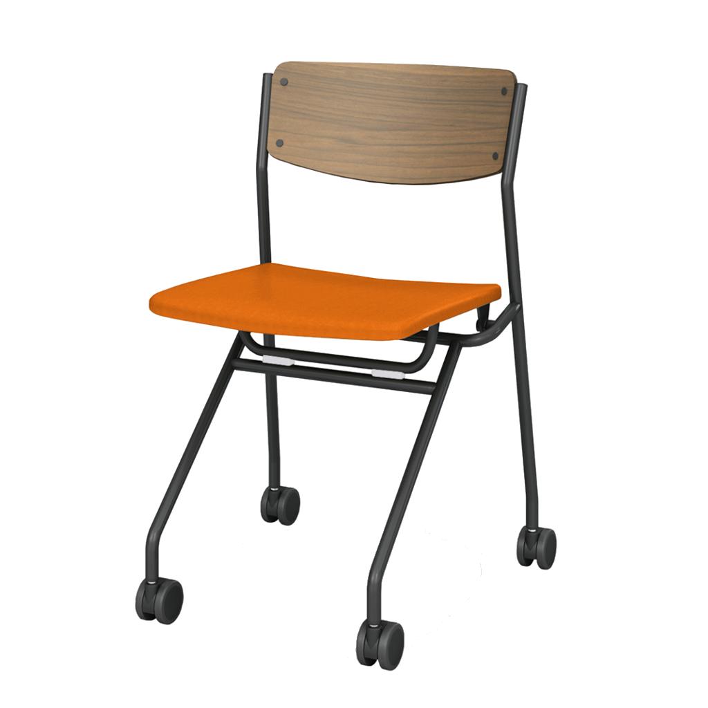 ミーティングチェア ネスティングチェア 会議用椅子 ブラック | 【4脚セット】 I-ESC-NP-B