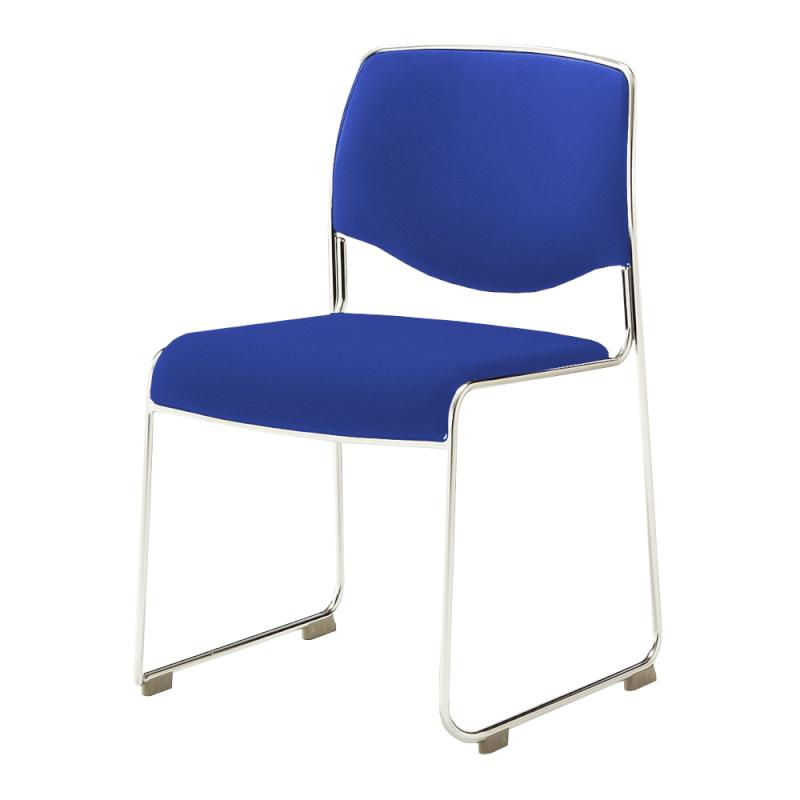 ミーティングチェア スタッキングチェア 会議用椅子 ループ脚 ステンレス メッキ脚 布 | I-DMC10-SJN