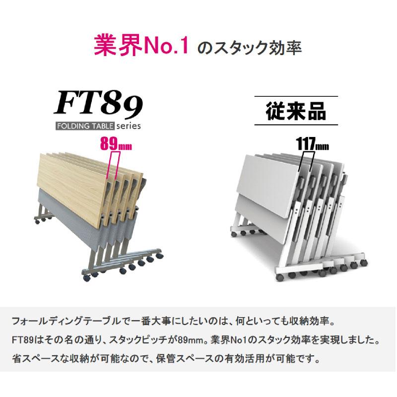 会議用テーブル キャスター付き W1500 D450 H720 幕板付き Z脚タイプ | I-FT89-Z1545TM