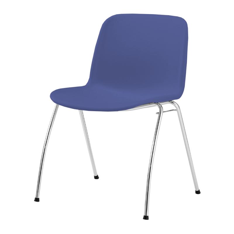 ミーティングチェア スタッキングチェア 学校教育用椅子 4本脚 スチール メッキ脚 シェルブルー 樹脂 | I-DJA30A