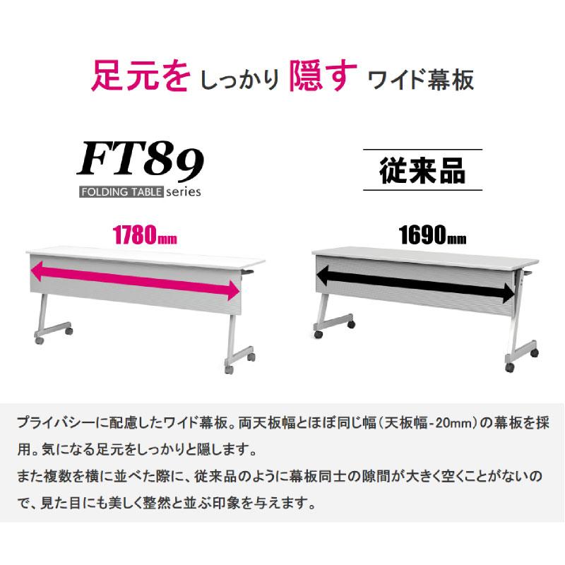 会議用テーブル キャスター付き W1500 D600 H720 幕板付き Z脚タイプ | I-FT89-Z1560TM