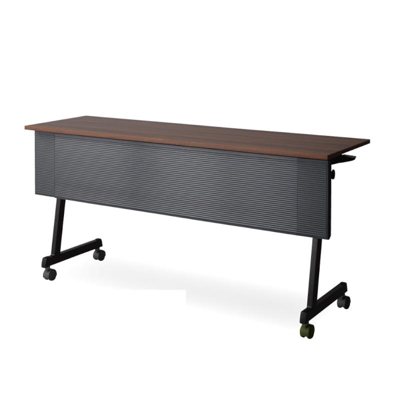 会議用テーブル キャスター付き W1500 D450 H720 幕板付き Z脚タイプ ブラック | I-FT89-ZB1545MT