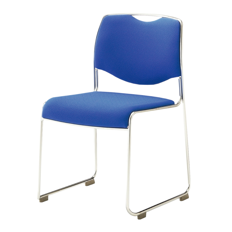 ミーティングチェア スタッキングチェア 会議用椅子 ループ脚 ステンレス メッキ脚 レザー   I-DMC15-LYL