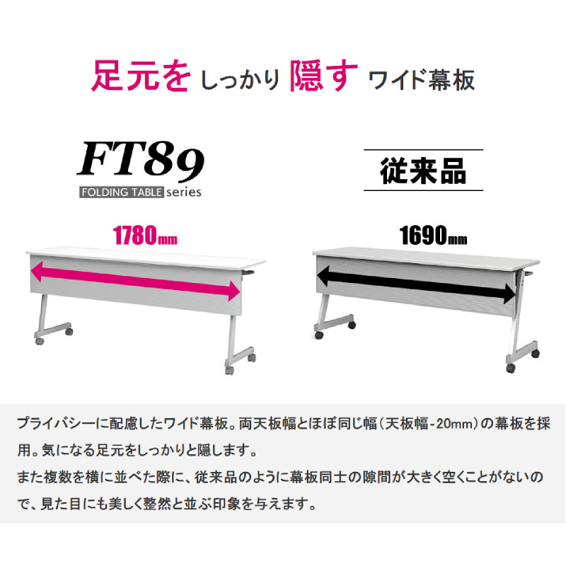 会議用テーブル キャスター付き W1800 D450 H720 幕板付き Z脚タイプ | I-FT89-Z1845TM