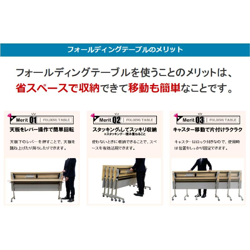会議用テーブル キャスター付き W1800 D600 H720 幕板付き Z脚タイプ | I-FT89-Z1860TM