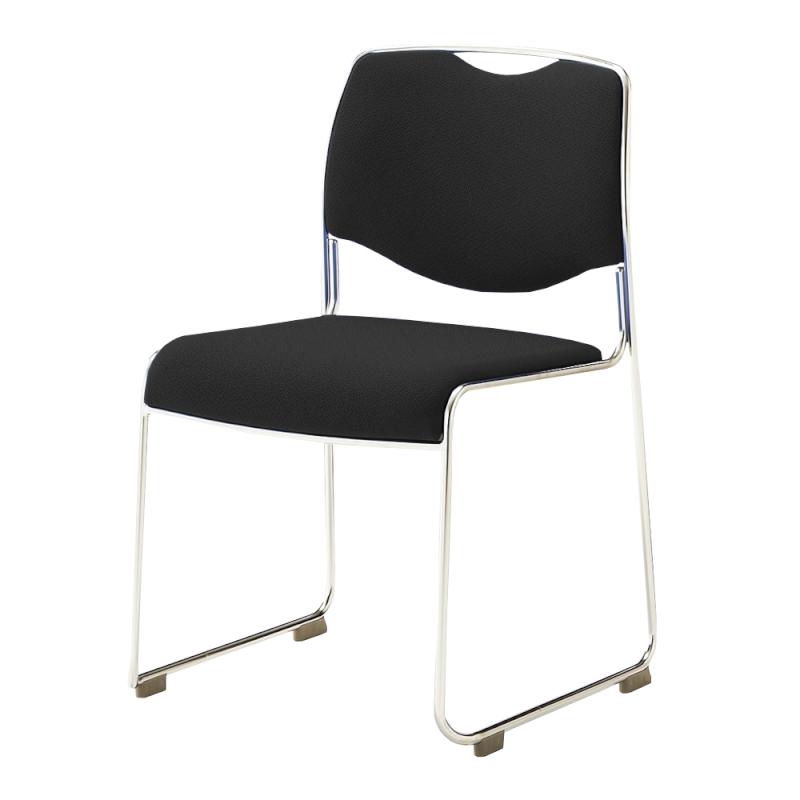 ミーティングチェア スタッキングチェア 会議用椅子 ループ脚 ステンレス メッキ脚 上級布 | I-DMC15-PXN