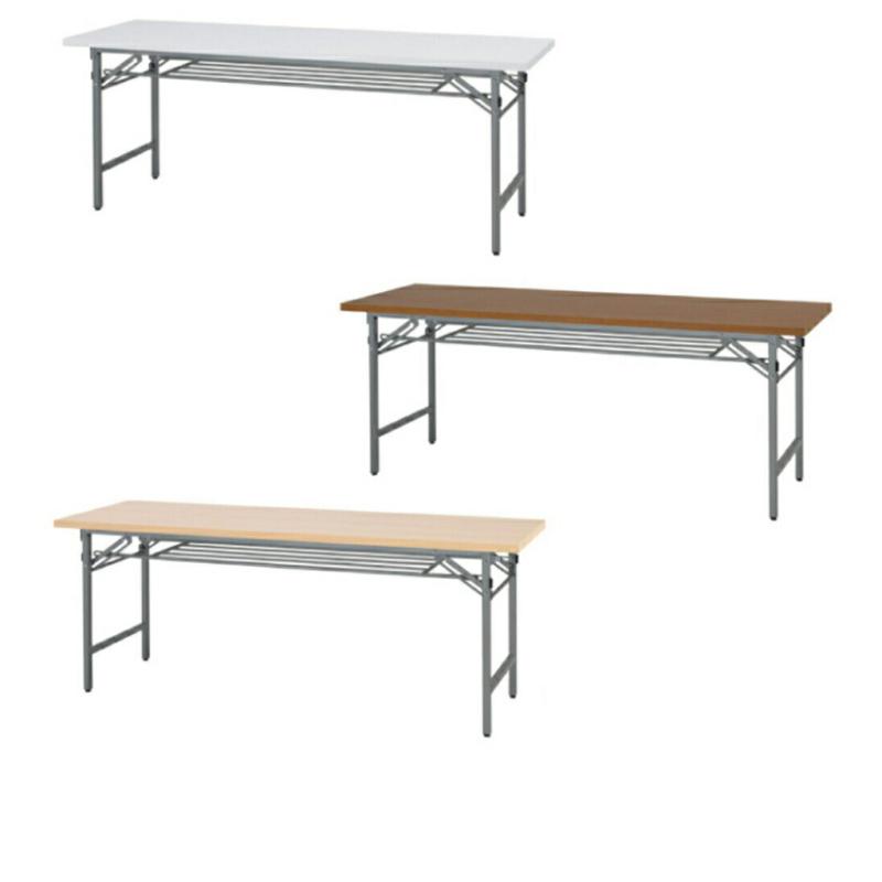 会議用テーブル 折りたたみ W1800 D450 H700 棚付き 木目 | I-NTH-1845