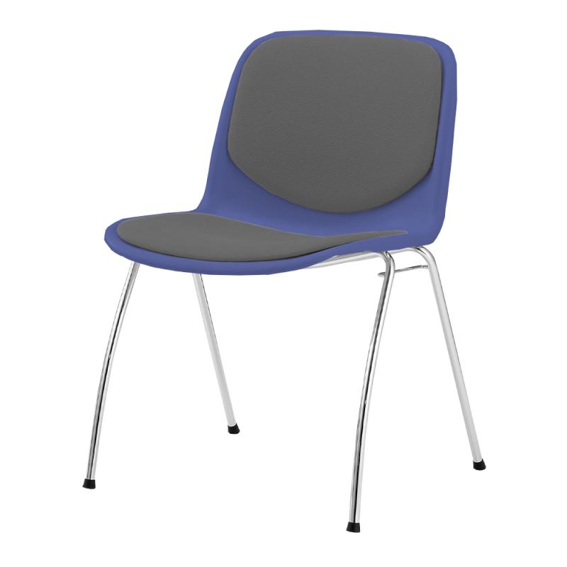 ミーティングチェア スタッキングチェア 学校教育用椅子 4本脚 スチール メッキ脚 シェルライトグレー レザー | I-DJA307-LYL