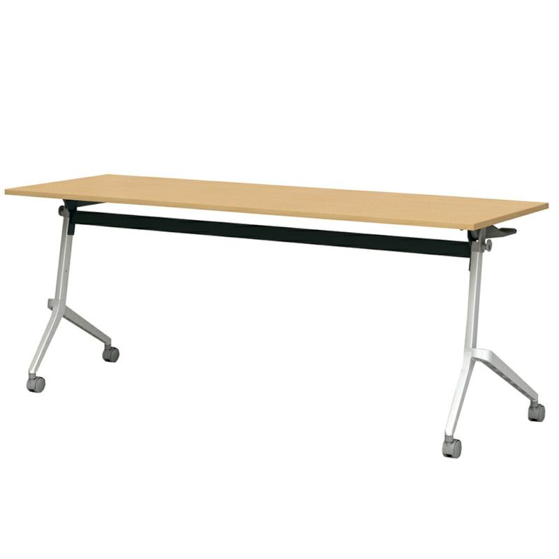 会議用テーブル キャスター付き W650 D450 H720 幕板付き デザイン脚タイプ | I-FT89-D6545T