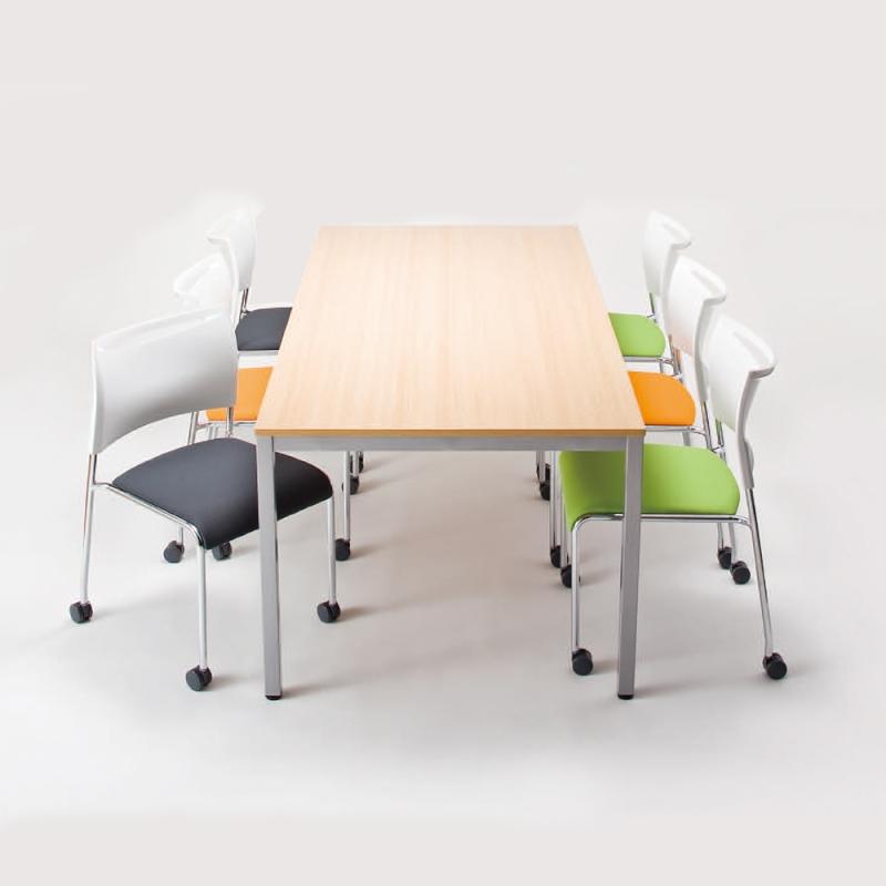 ミーティングチェア スタッキングチェア 会議用椅子 4本脚 スチール メッキ脚 キャスター付き レザー | I-LTS-4MC-V