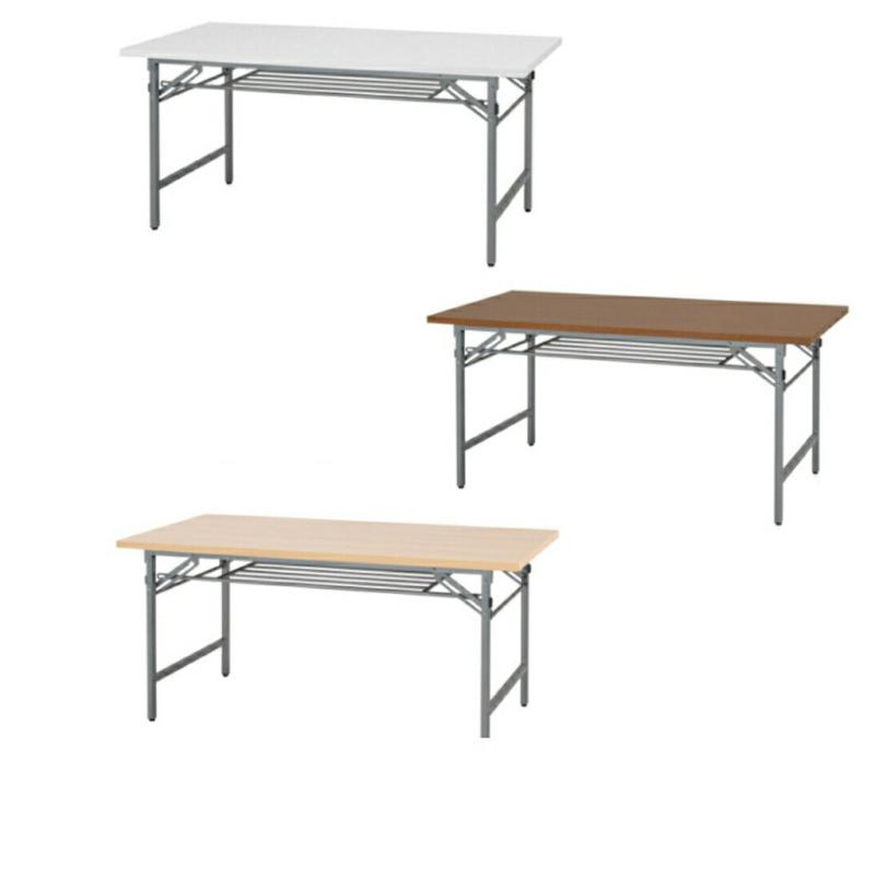 会議用テーブル 折りたたみ W1500 D600 H700 棚付き 木目 | I-NTH-1560