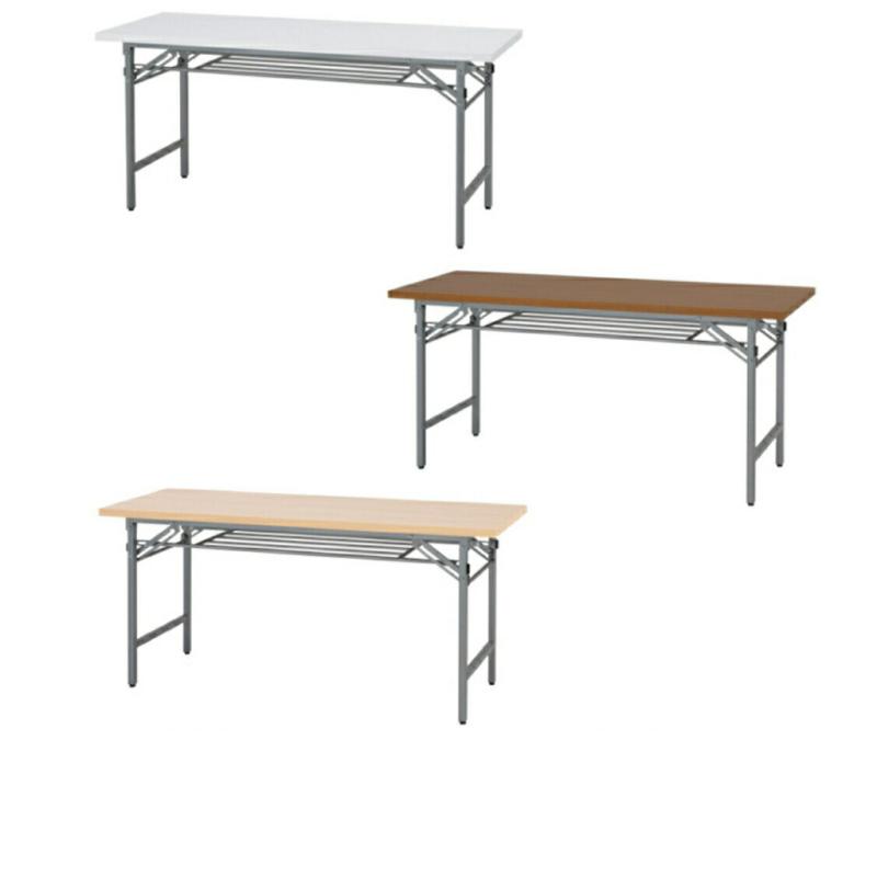 会議用テーブル 折りたたみ W1500 D450 H700 棚付き 木目 | I-NTH-1545
