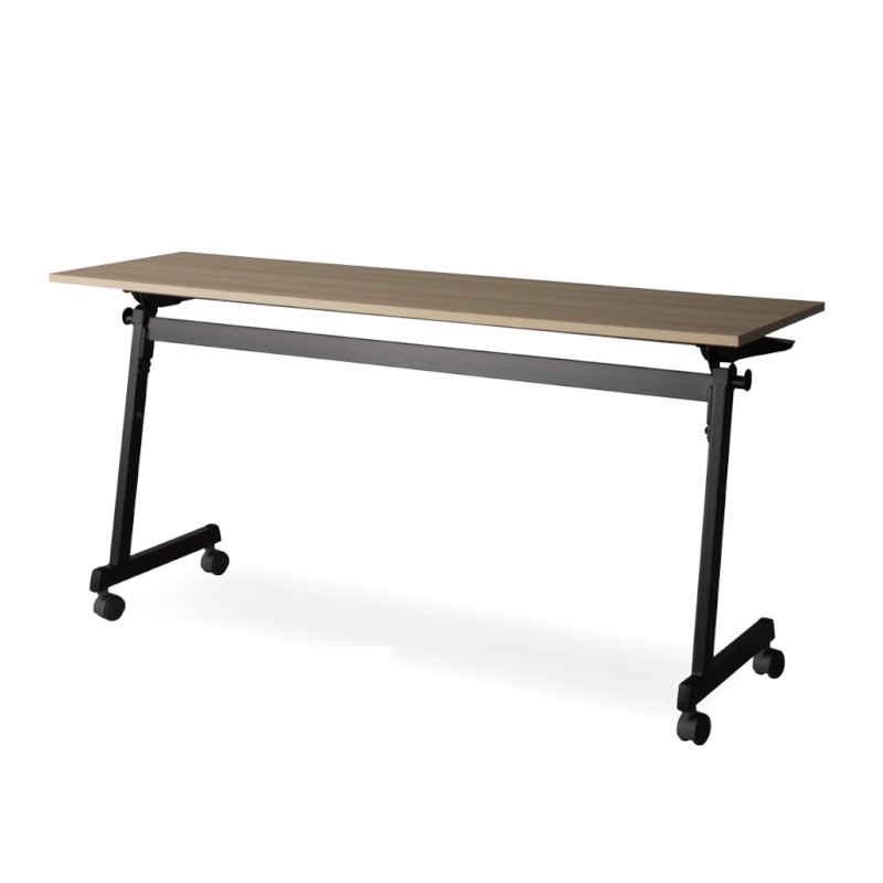 会議用テーブル キャスター付き W1800 D450 H720 幕板なし Z脚タイプ ブラック | I-FT89-ZB1845T